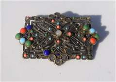 Antique Chinese Coral Beads Brooch Pin
