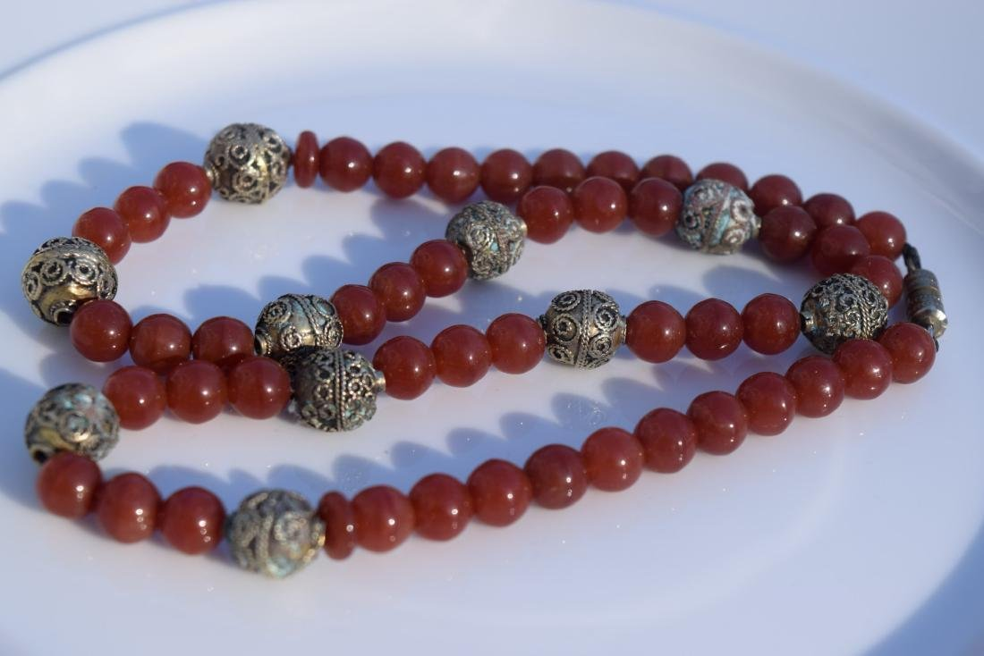 Vintage Red Carnelian Bead Necklace