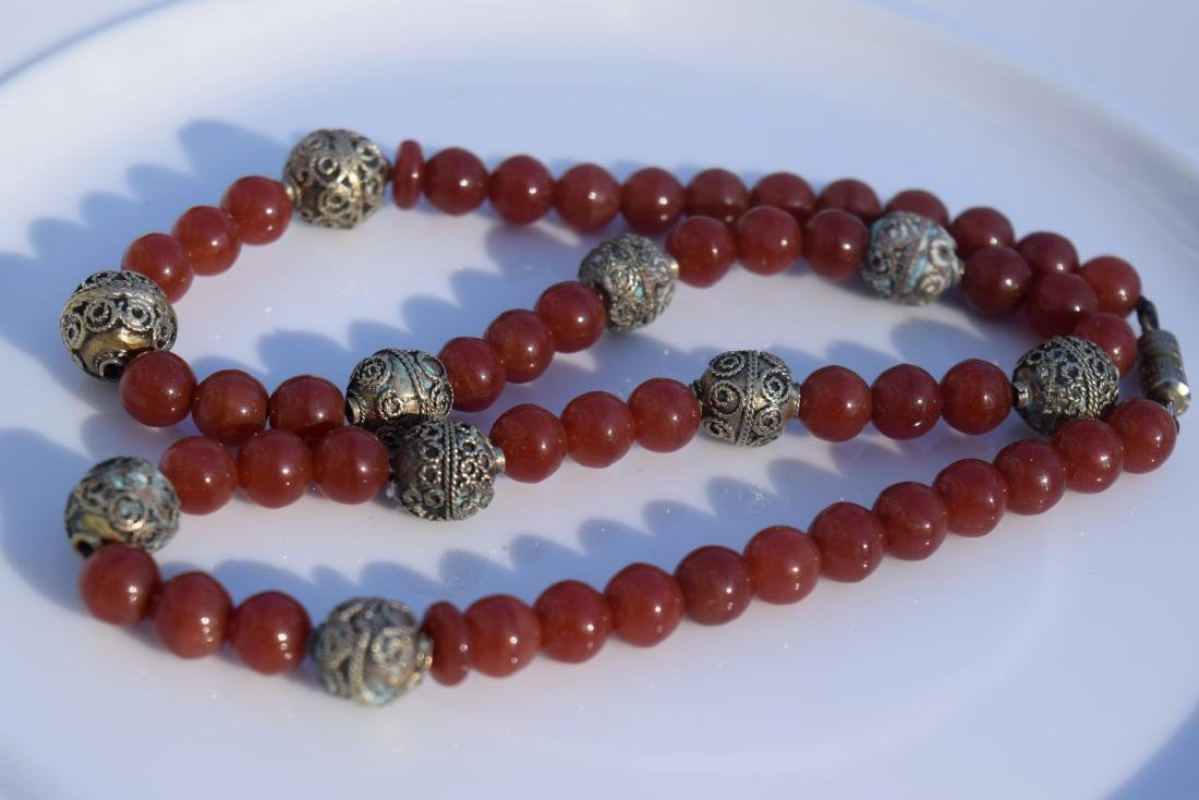 Vintage Red Carnelian Bead Necklace - 2