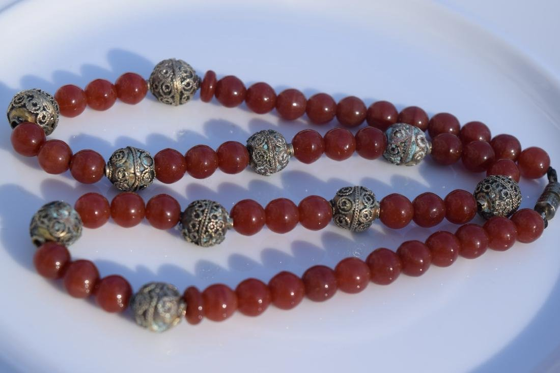 Vintage Red Carnelian Bead Necklace - 3