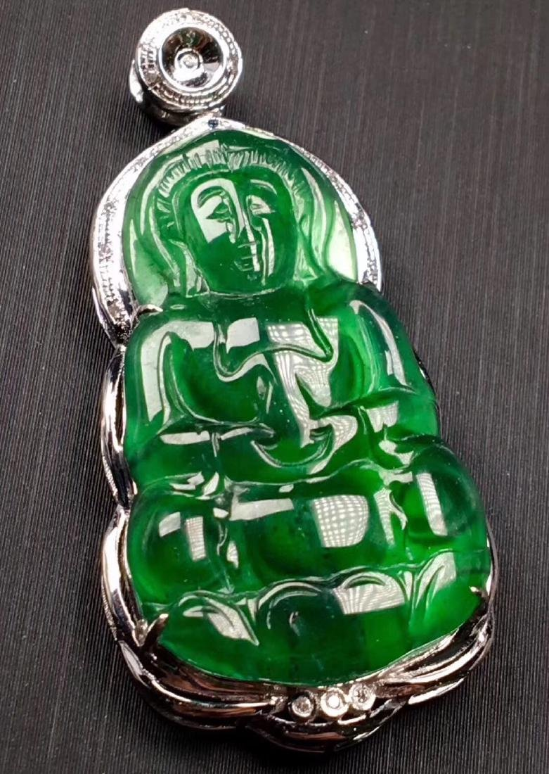 18K Gold Green Jadeite Guanyin Pendant