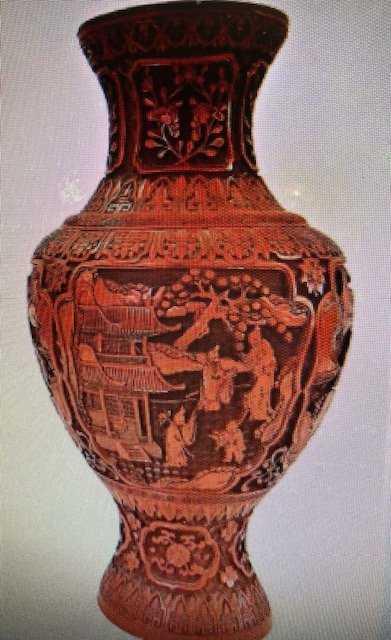 Antique Qing Dynasty Hand Carved Cinnabar Vase