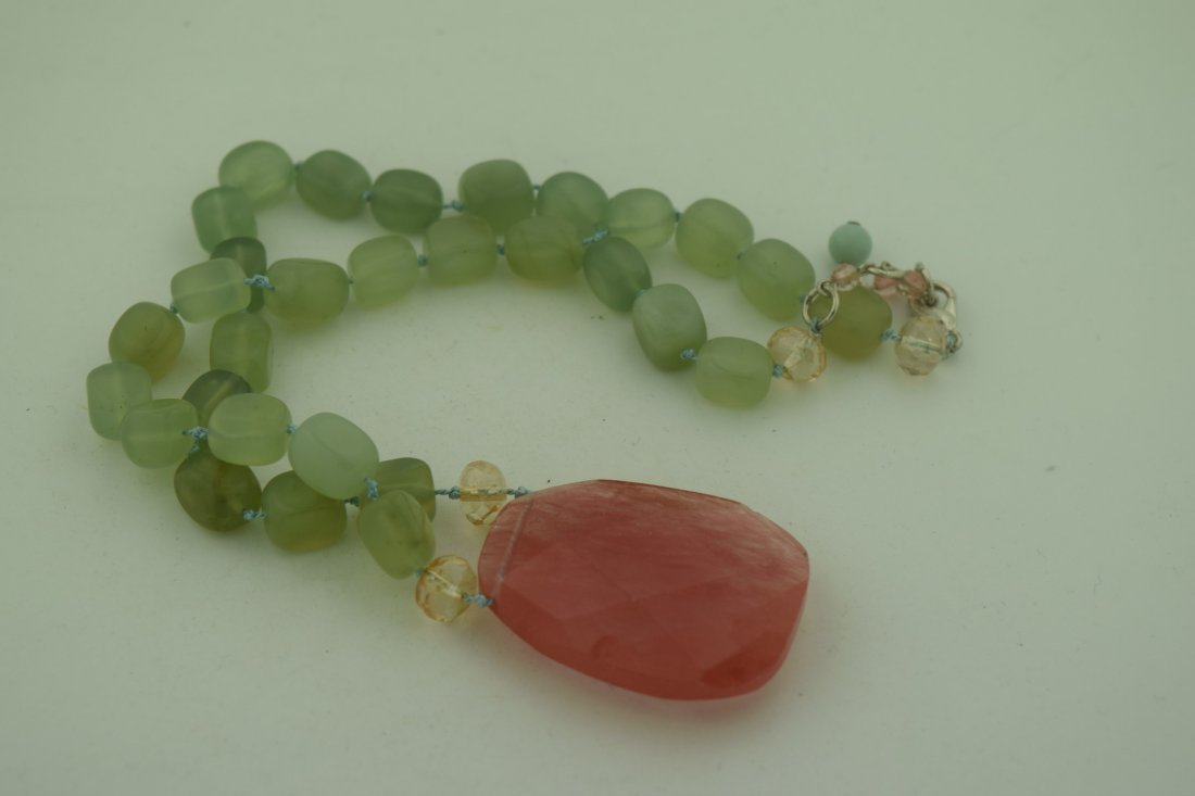 Vintage Green Necklace with Pink Pendant