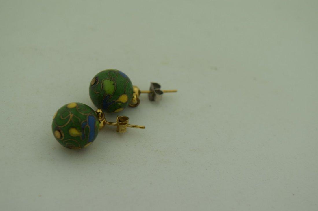 Pair of Cloisonne Earrings - 2