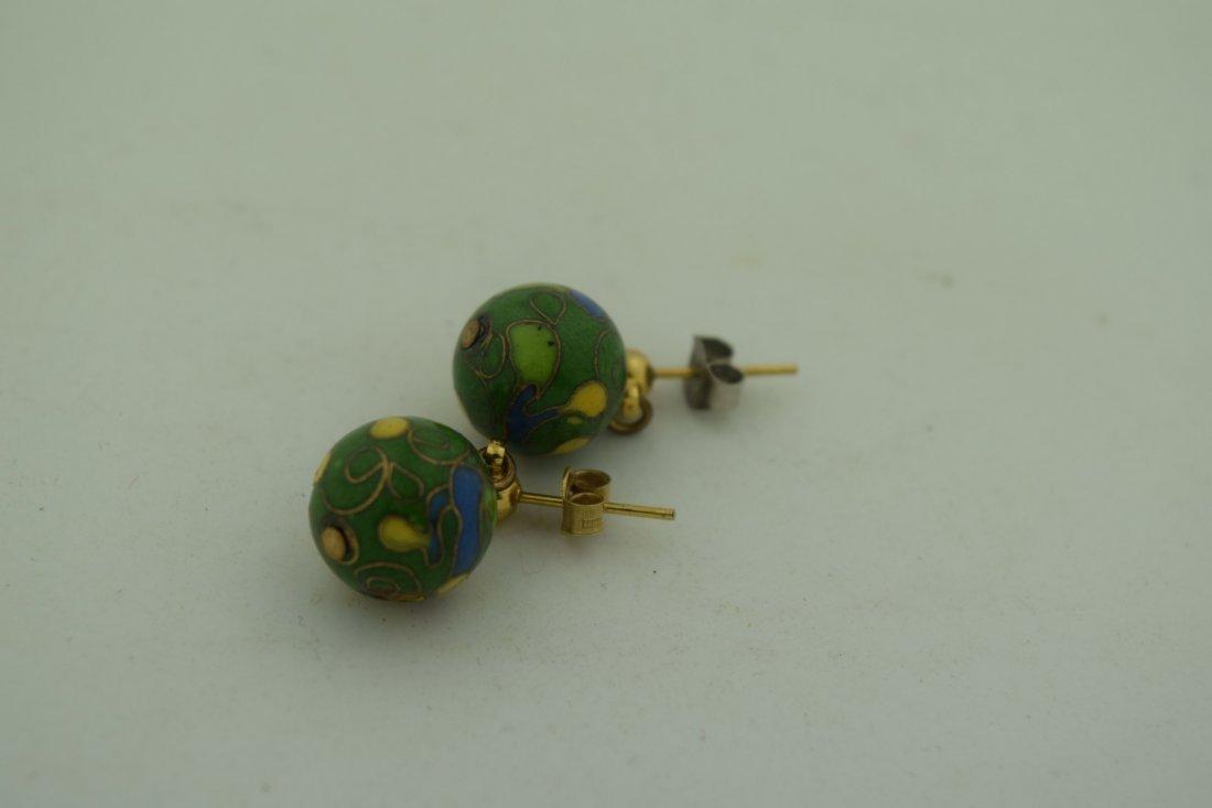 Pair of Cloisonne Earrings - 3