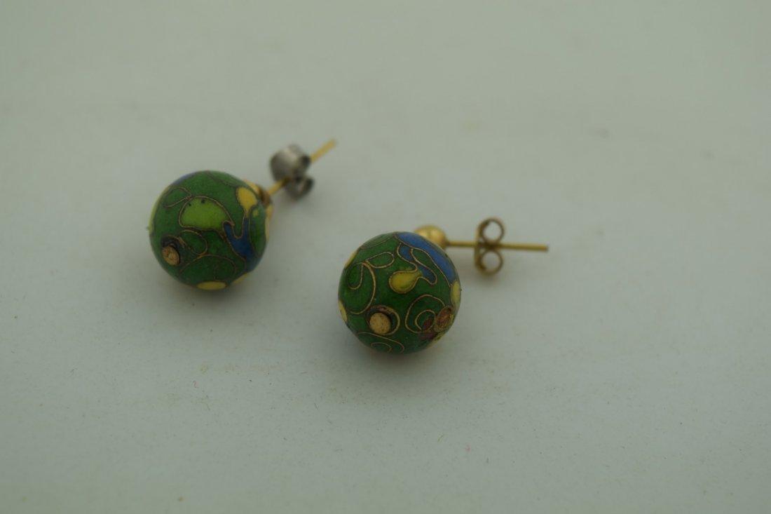 Pair of Cloisonne Earrings - 4