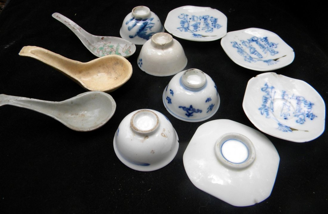 Group of Antique Chinese Cup, Dishes and Spoons