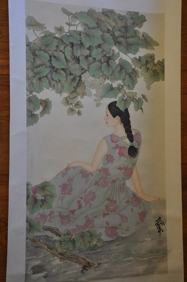 CHINESE SCROLL PAINTING BEAUTY SCENE BY JIAYING HE