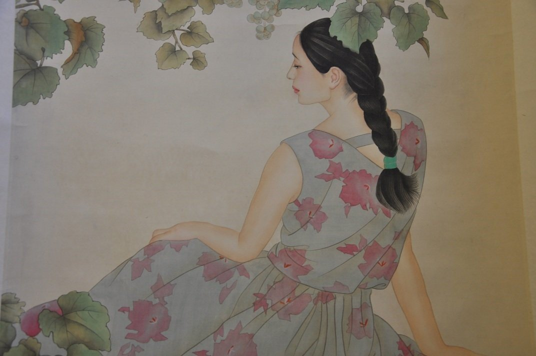 CHINESE SCROLL PAINTING BEAUTY SCENE BY JIAYING HE - 4