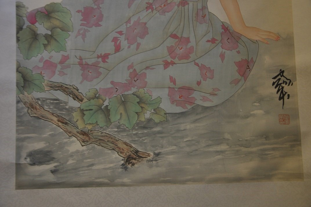 CHINESE SCROLL PAINTING BEAUTY SCENE BY JIAYING HE - 5