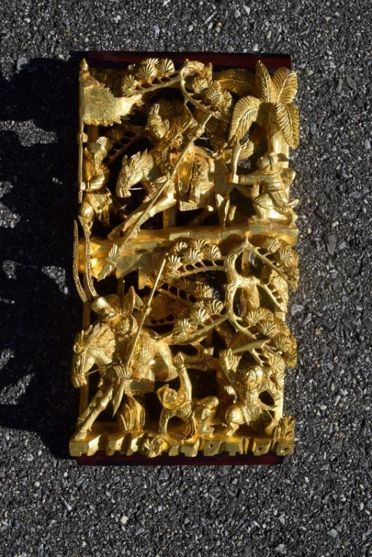 A CHINESE CARVED AND PIERCED WARRIOR PLAQUE , 19TH