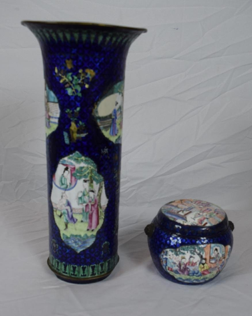 Pair of Antique Chinese Enamel Vase and Pot