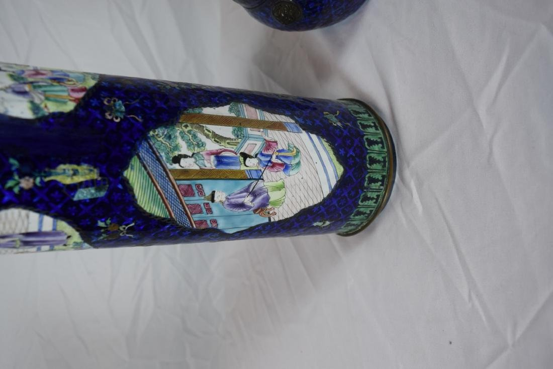 Pair of Antique Chinese Enamel Vase and Pot - 3
