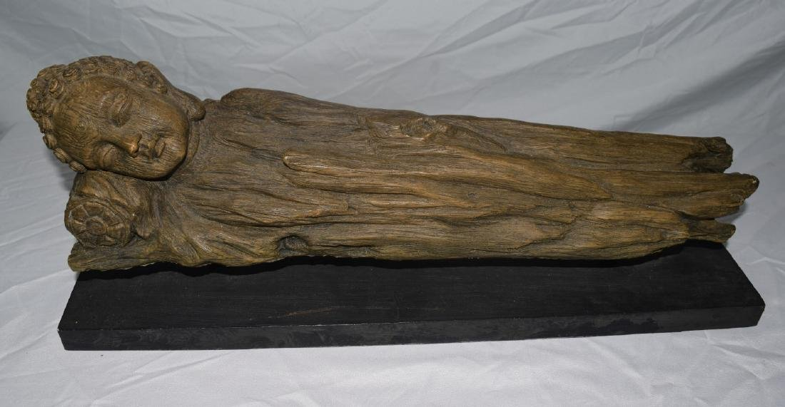 Antique Chinese Carved Rosewood Sleeping Buddha Statue