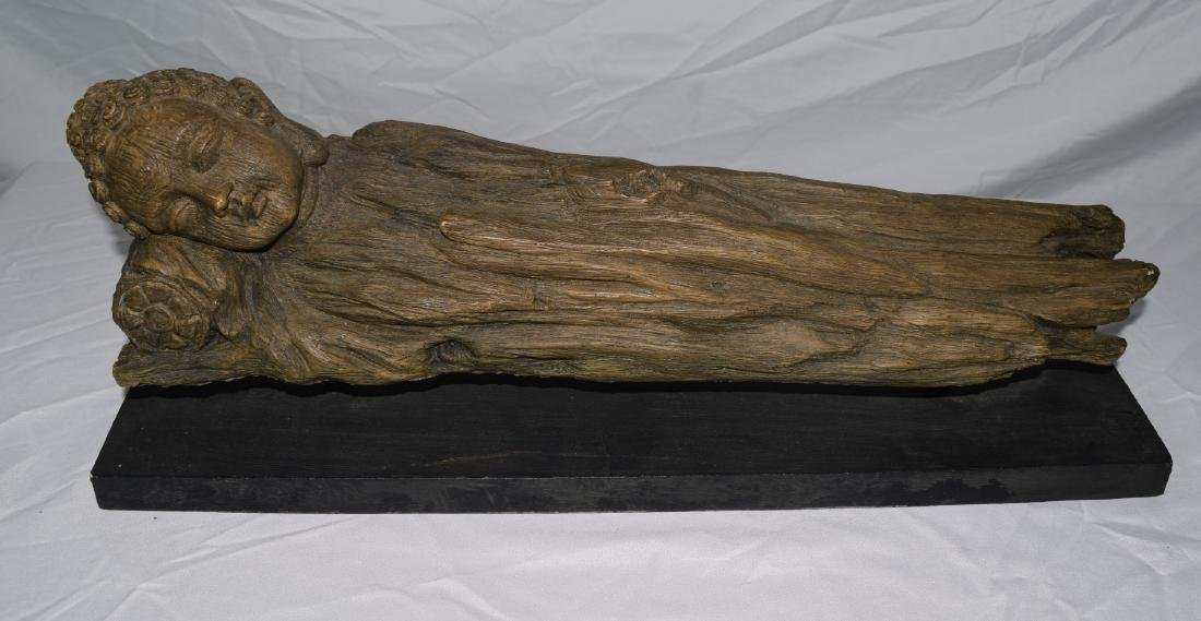 Antique Chinese Carved Rosewood Sleeping Buddha Statue - 3