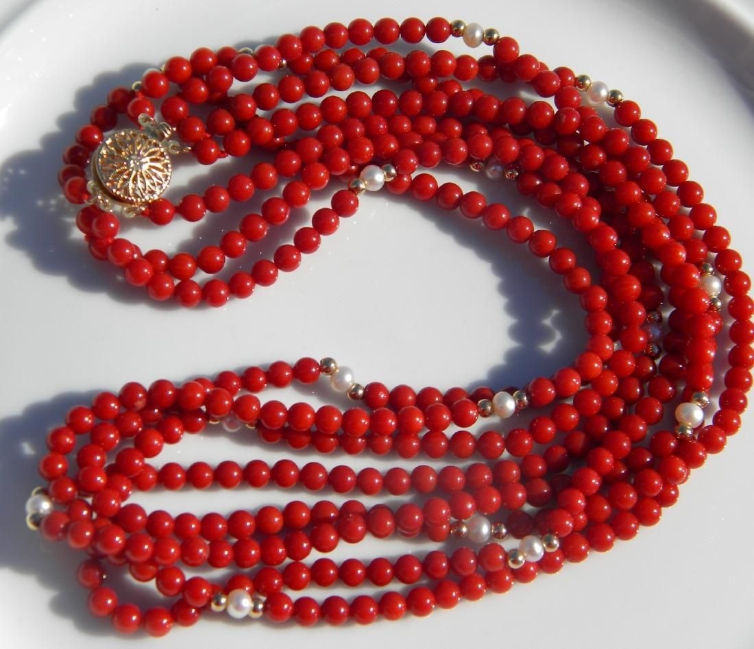 14K Gold Bale and Beads Red Coral Beads Necklace