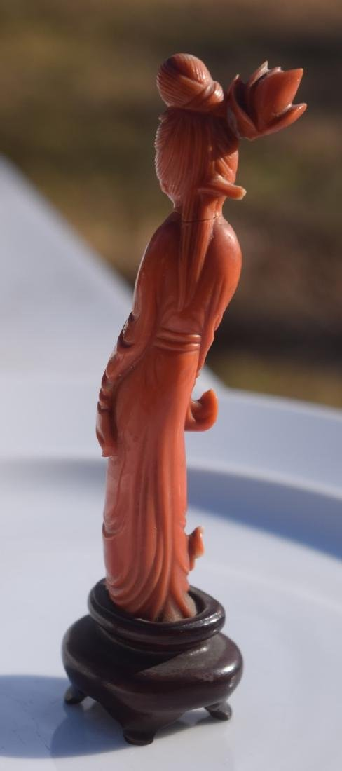 "Antique Carved Red Coral Beauty Statue, H: 4.25"" - 3"