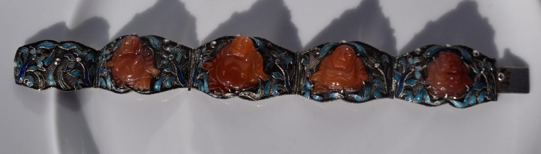 Antique Chinese Silver Enamel Bracelet, Carnelian