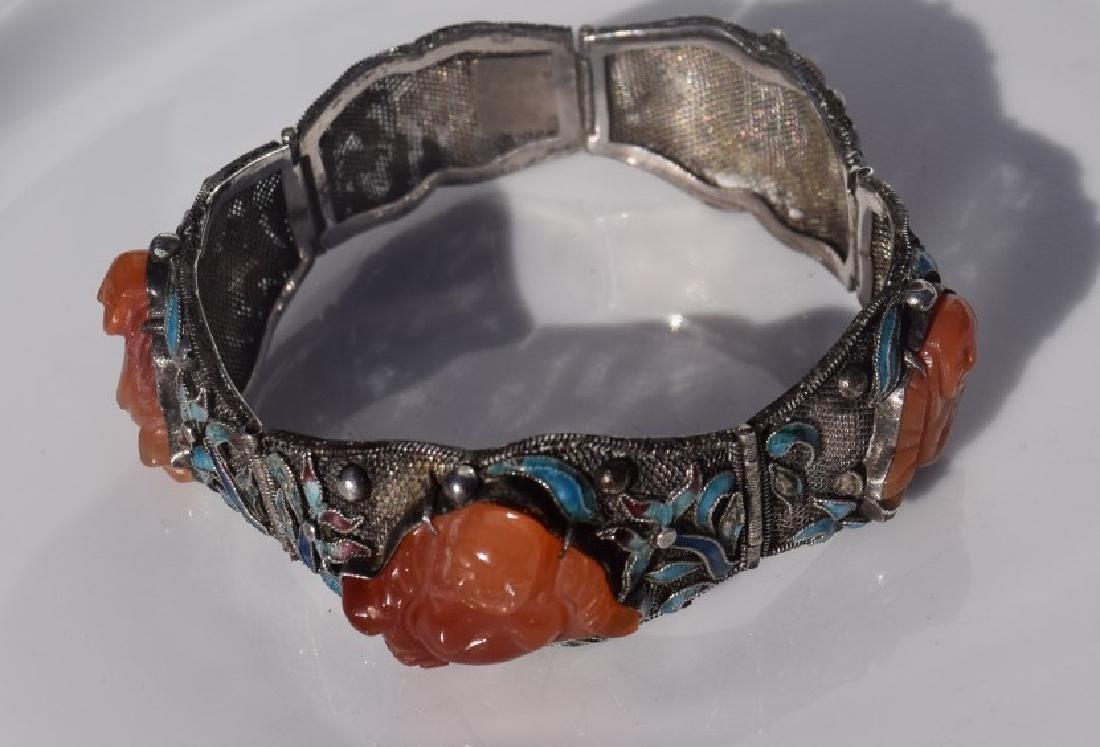 Antique Chinese Silver Enamel Bracelet, Carnelian - 2