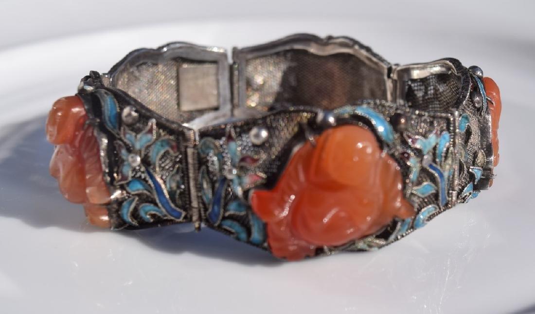 Antique Chinese Silver Enamel Bracelet, Carnelian - 3
