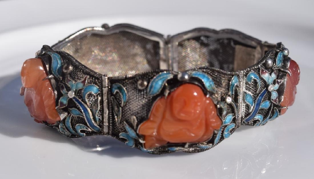 Antique Chinese Silver Enamel Bracelet, Carnelian - 4