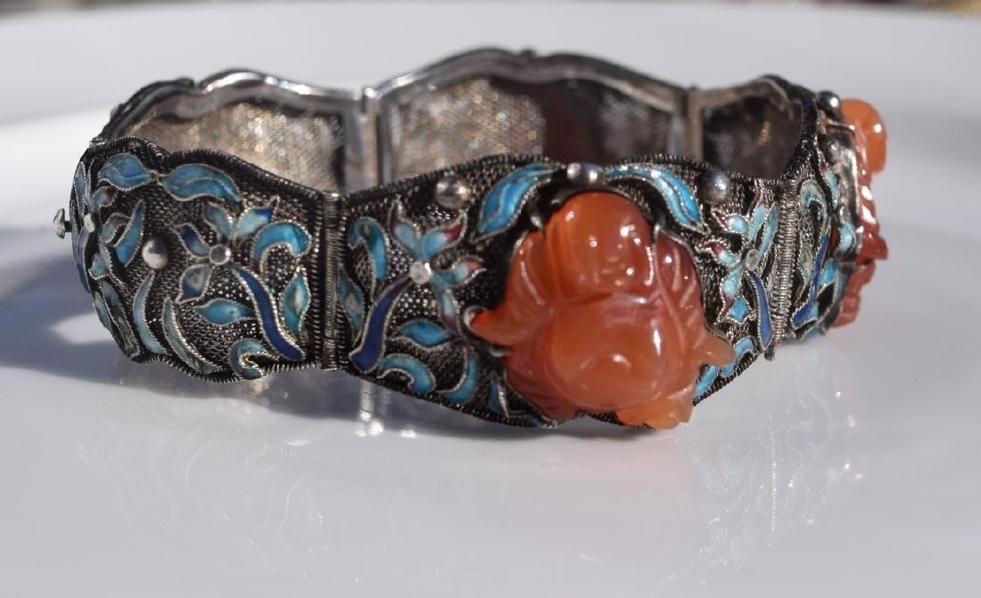 Antique Chinese Silver Enamel Bracelet, Carnelian - 5
