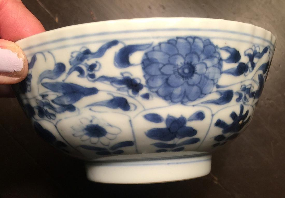 Antique Chinese Blue and White Bowl, Kangxi Period