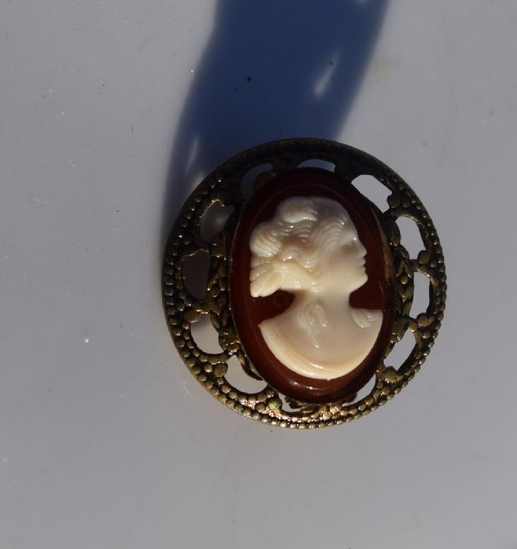 Antique Silver Cameo Brooch Pin