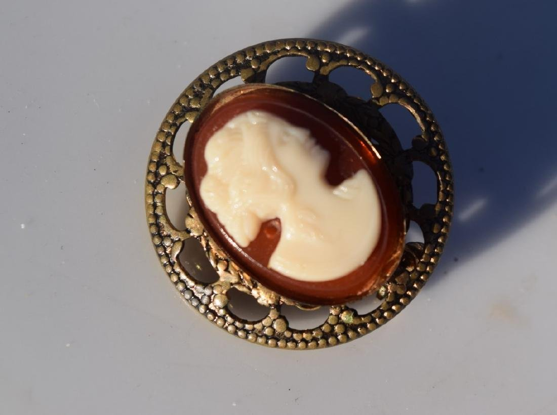 Antique Silver Cameo Brooch Pin - 3