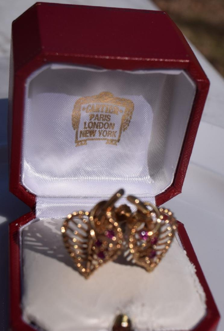 Pair of Cartier 14K Gold and Ruby Earrings - 2