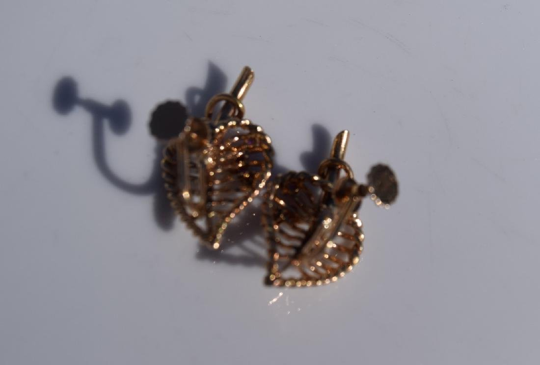 Pair of Cartier 14K Gold and Ruby Earrings - 3