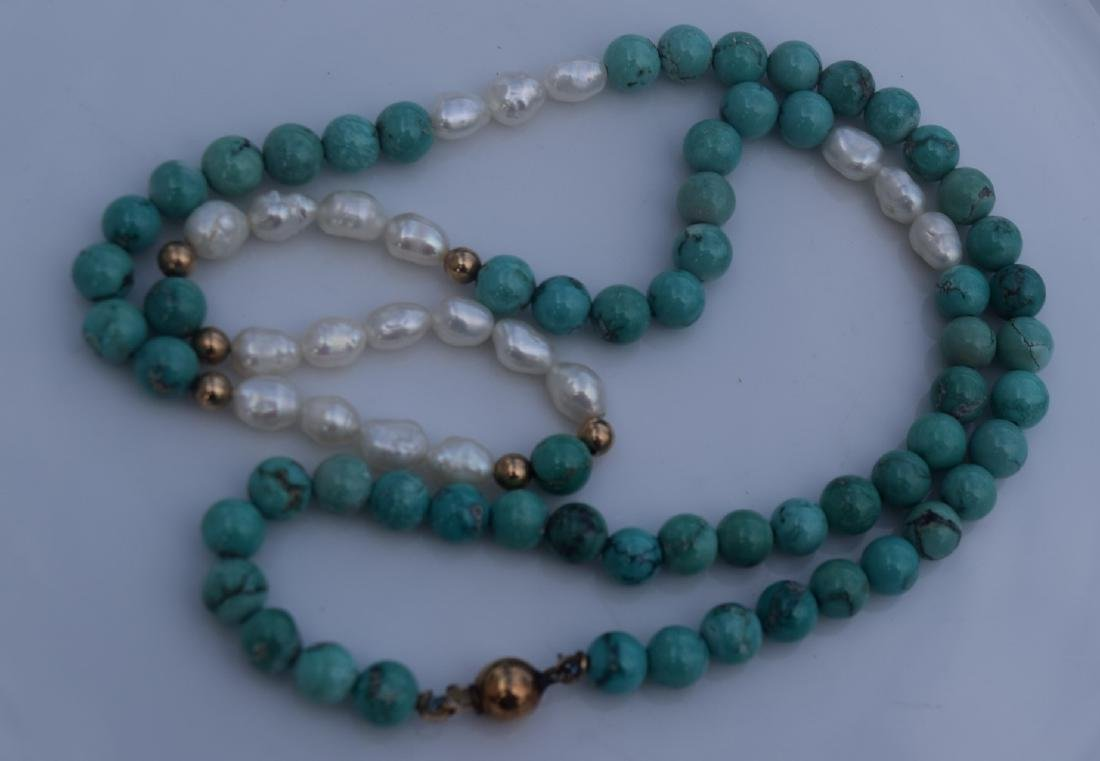 Vintage Turquoise and Gold Bead Necklace - 2