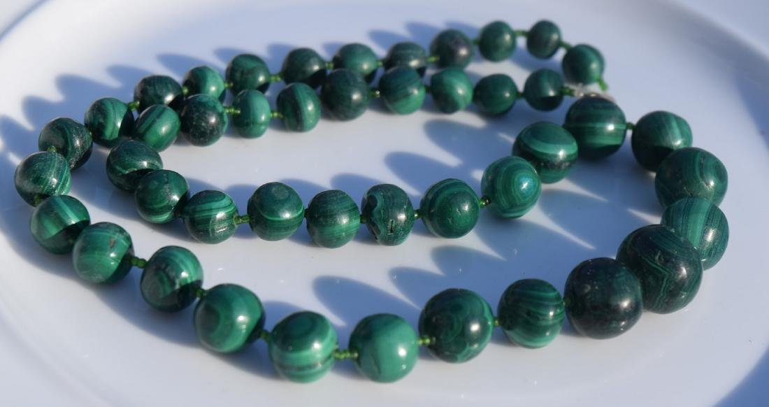Vintage Malachite Bead Necklace