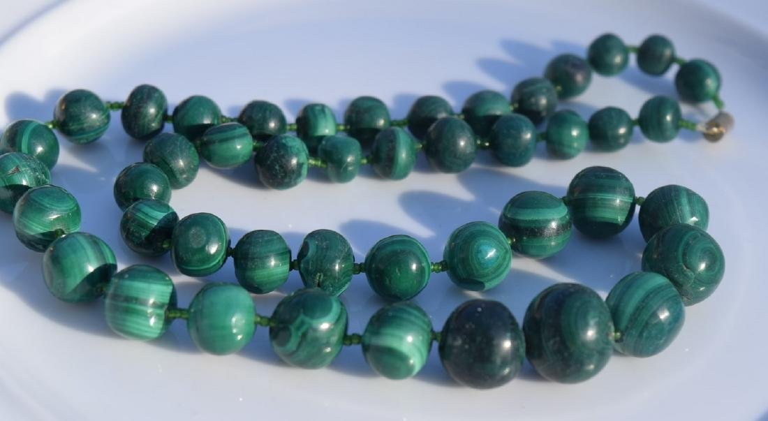 Vintage Malachite Bead Necklace - 4