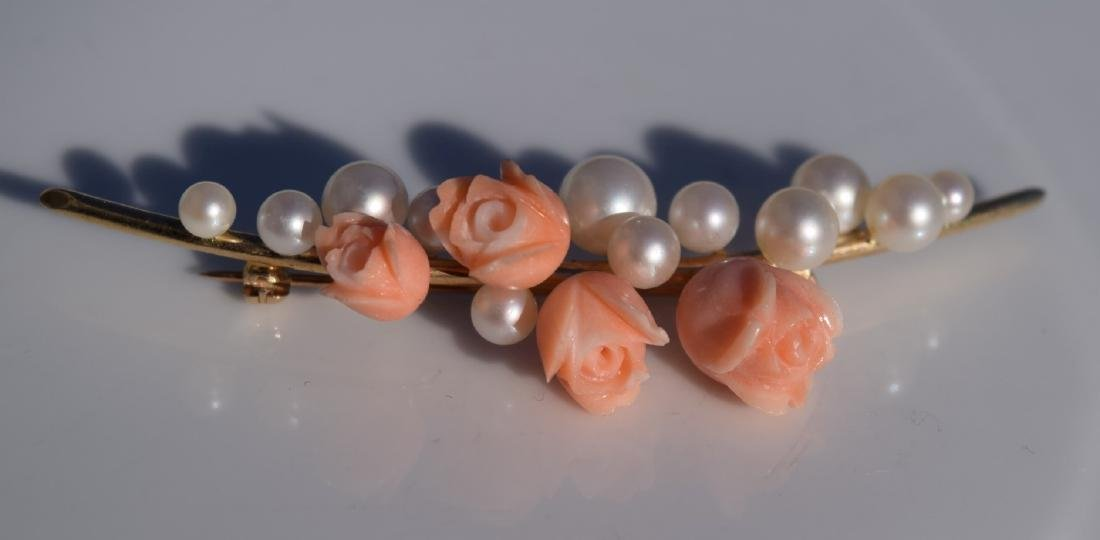 Vintage Coral Rose and Pearl Brooch Pin