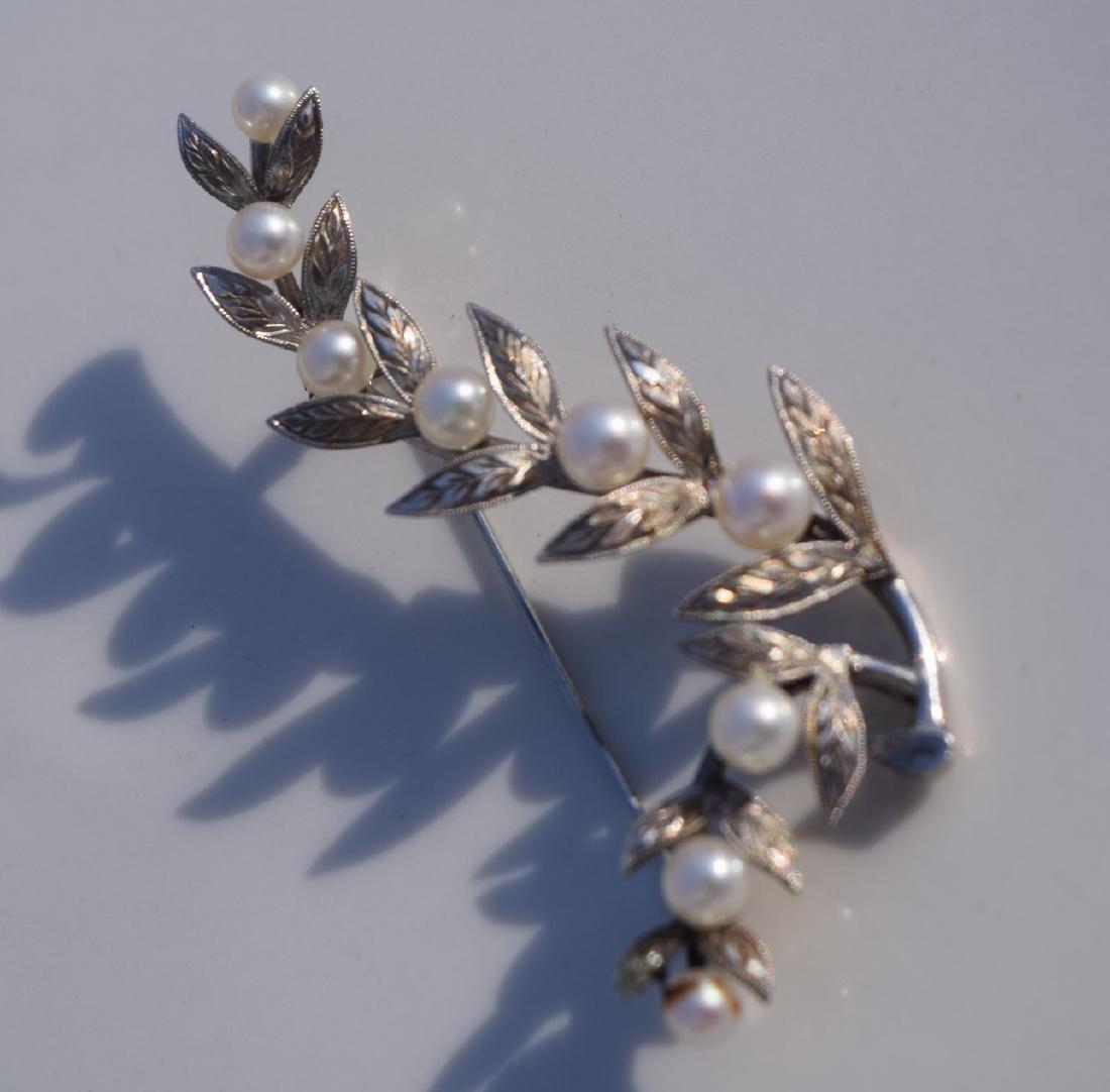 Vintage Sterling silver Pearl Brooch Pin - 3