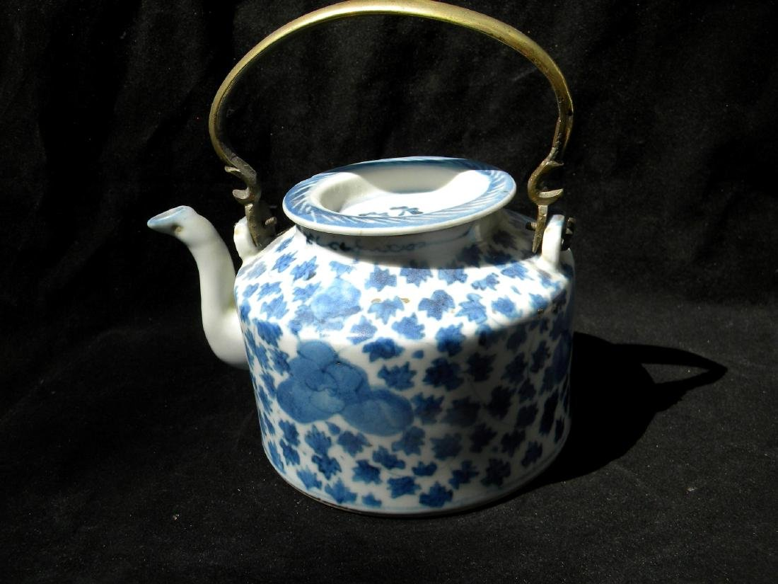 Antique Chinese Blue and White Teapot Qing Dynasty