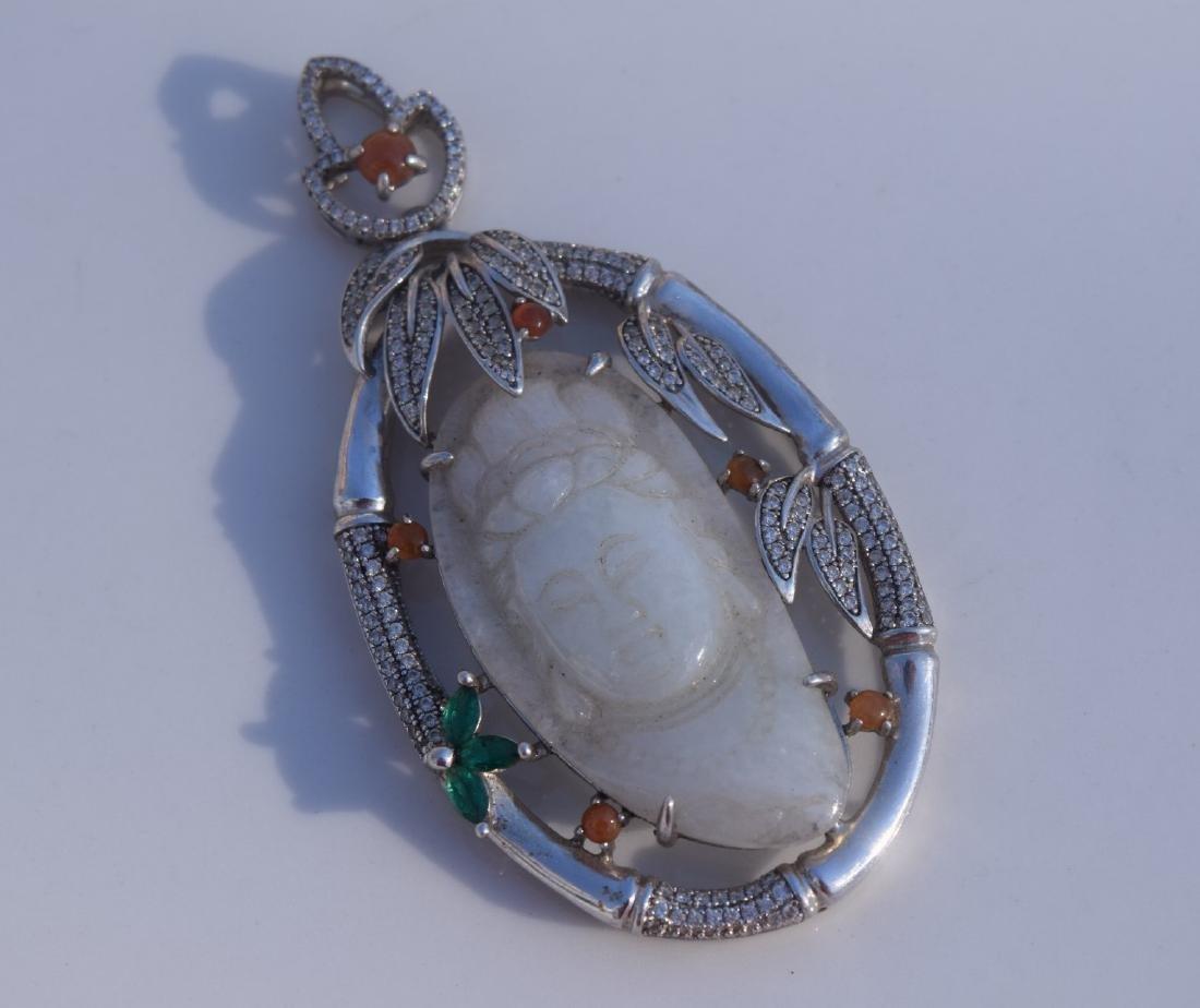 Vintage Sterling Silver Jadeite Guanyin Pendant