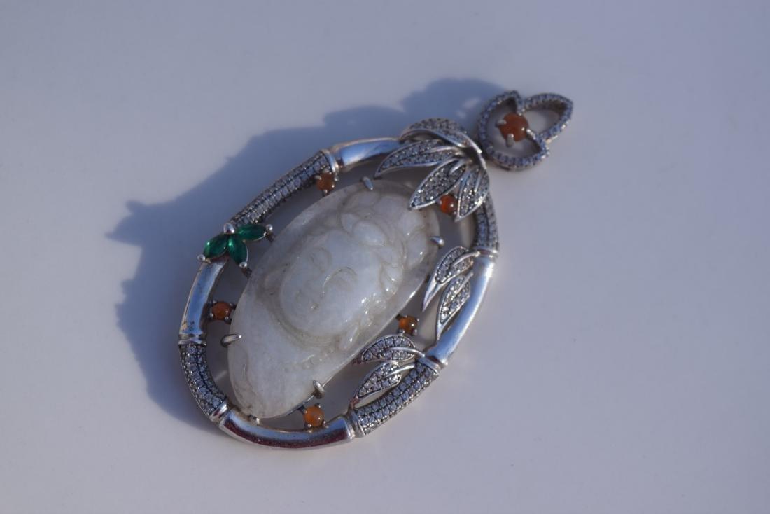 Vintage Sterling Silver Jadeite Guanyin Pendant - 2
