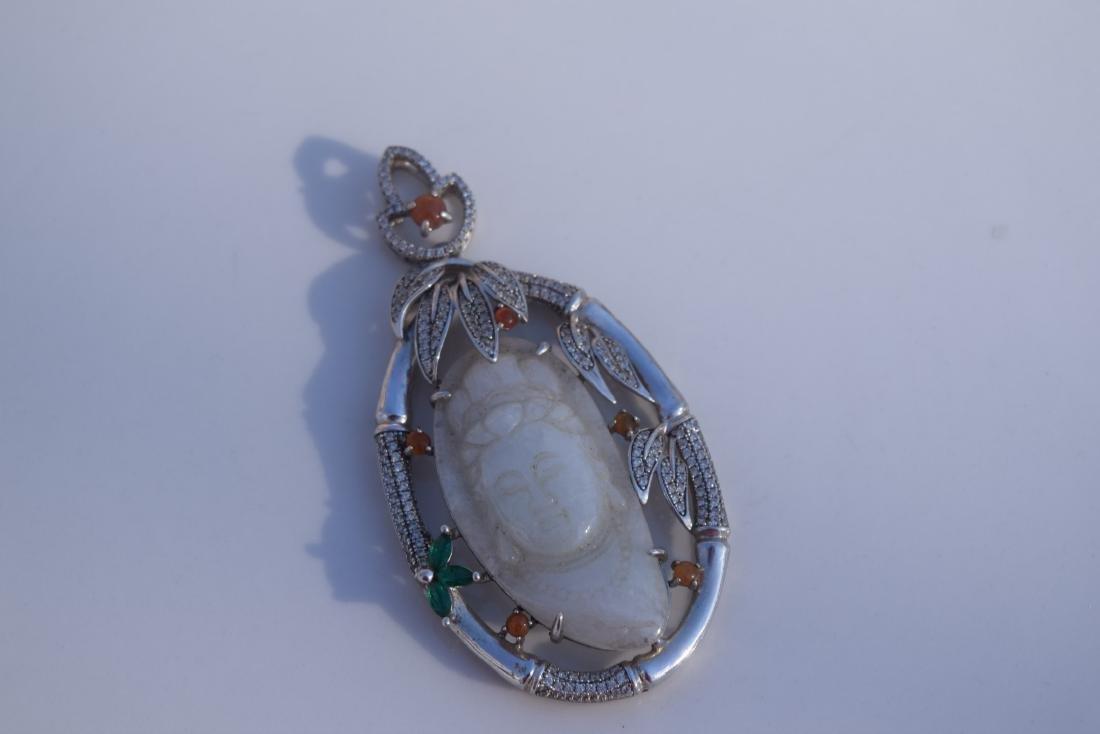 Vintage Sterling Silver Jadeite Guanyin Pendant - 3