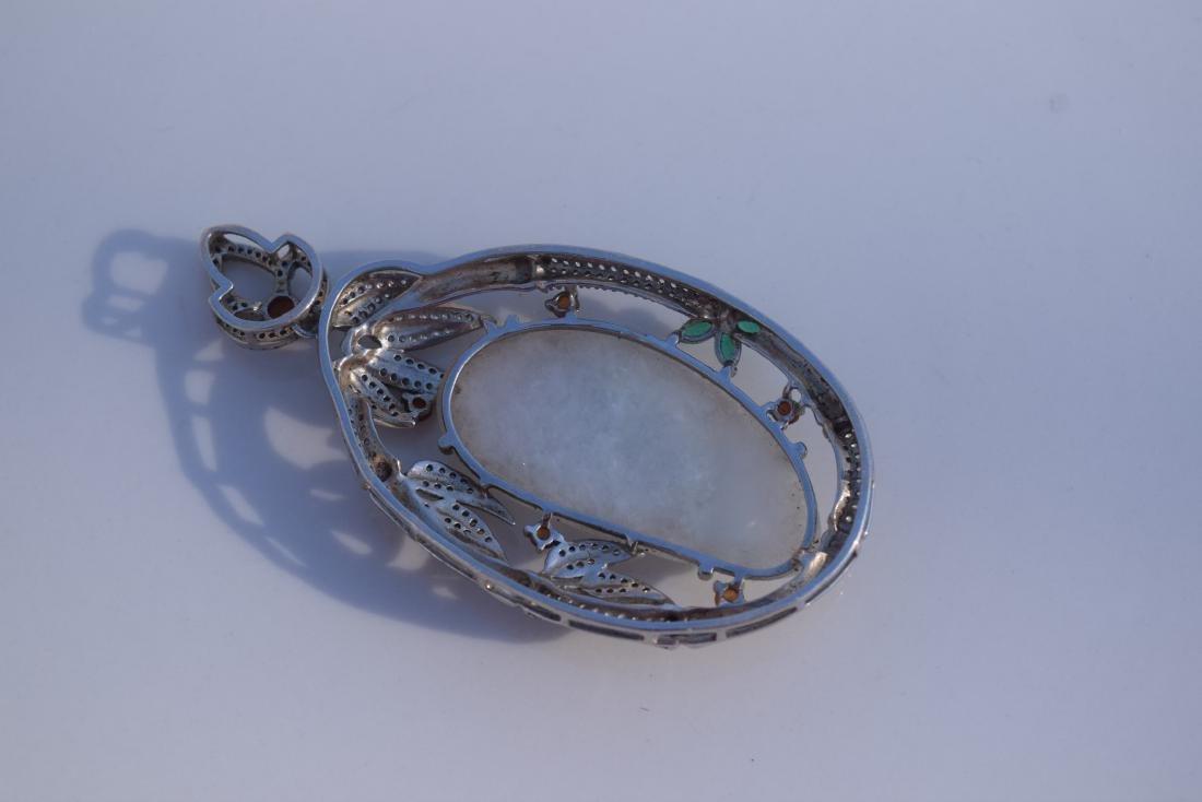 Vintage Sterling Silver Jadeite Guanyin Pendant - 4