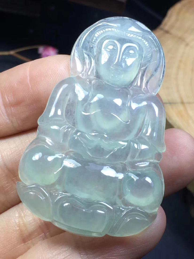 Natural Jadeite Guanyin Pendant - 2