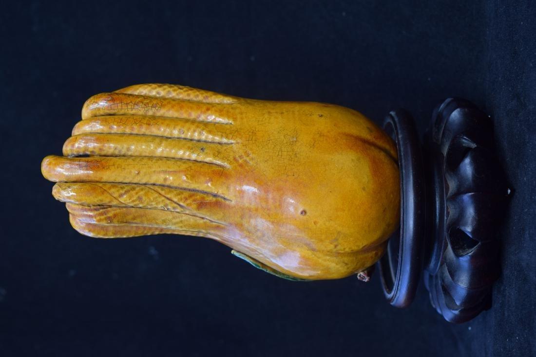 A YELLOW GLAZED BUDDHA'S HAND - 3