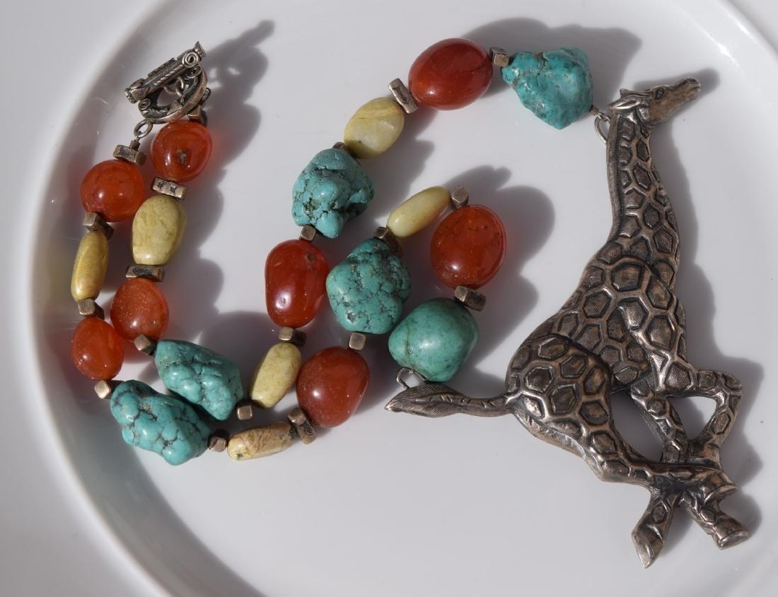 Vintage Silver Giraffe Necklace, including Carnelian