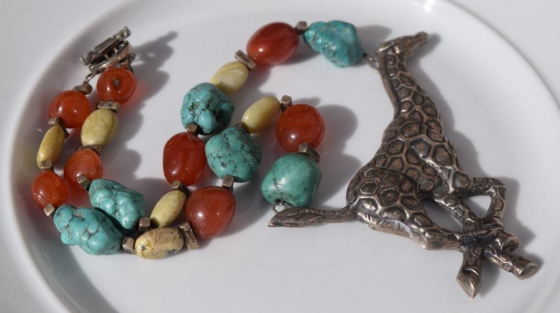 Vintage Silver Giraffe Necklace, including Carnelian - 2