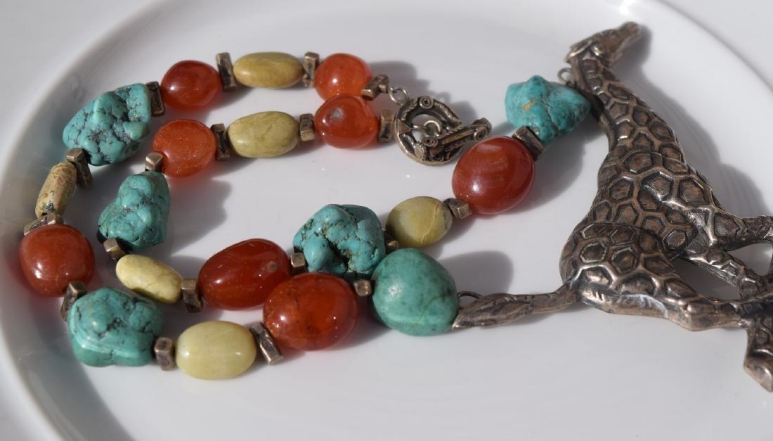 Vintage Silver Giraffe Necklace, including Carnelian - 4