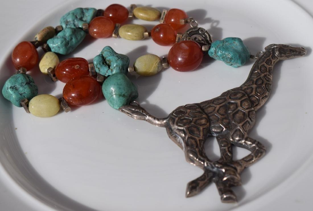 Vintage Silver Giraffe Necklace, including Carnelian - 6