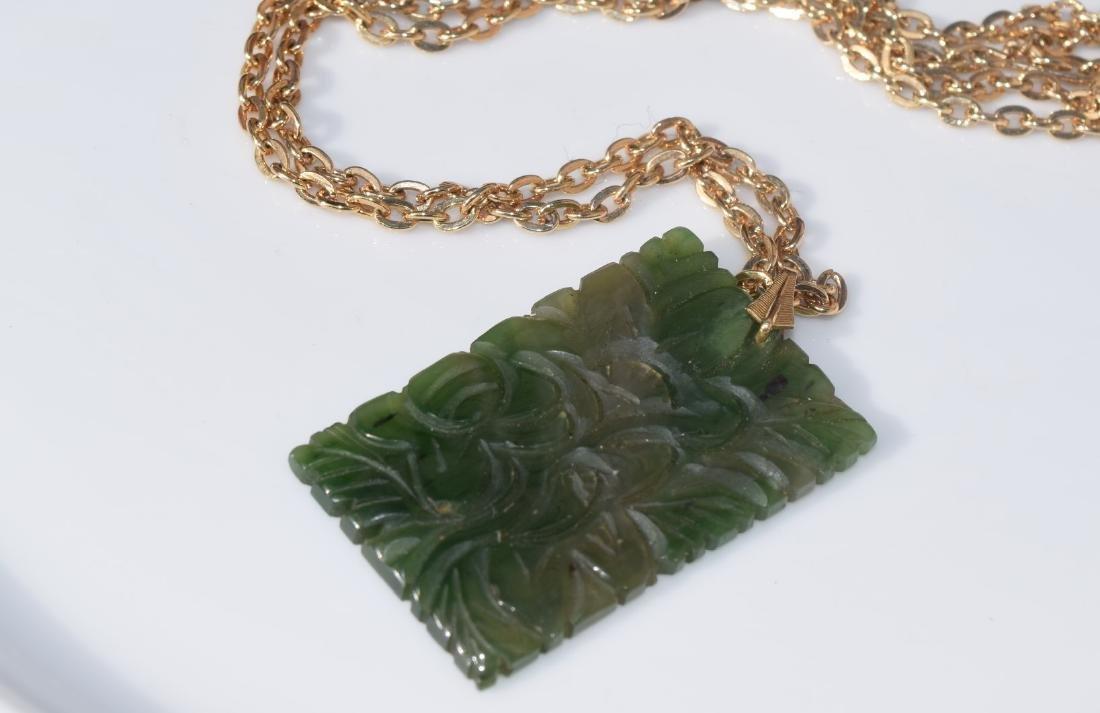 Vintage Green Jadeite Plaque Necklace