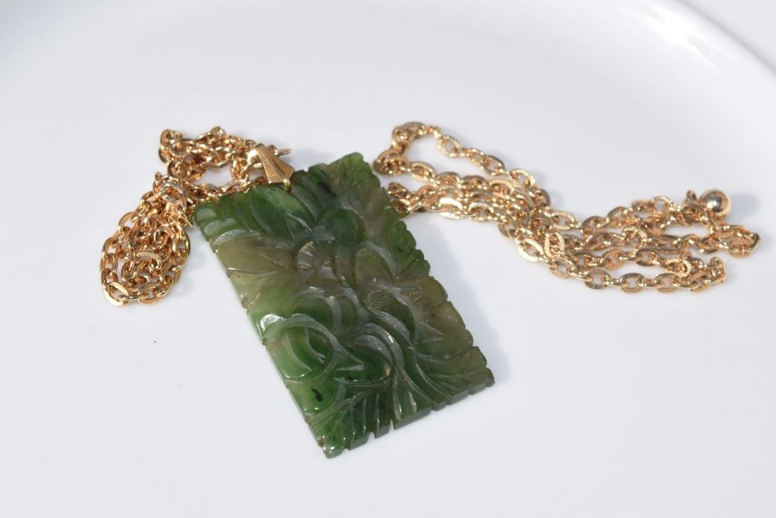 Vintage Green Jadeite Plaque Necklace - 3