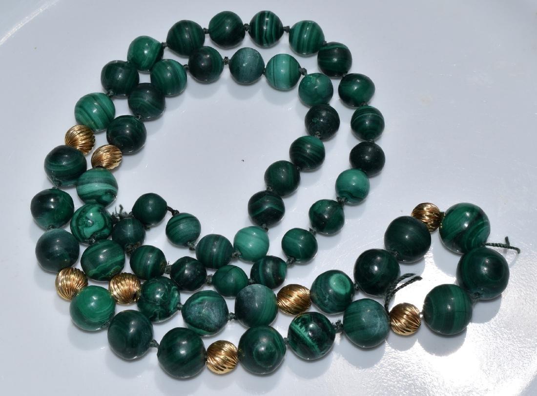 Vintage Malachite Bead Necklace